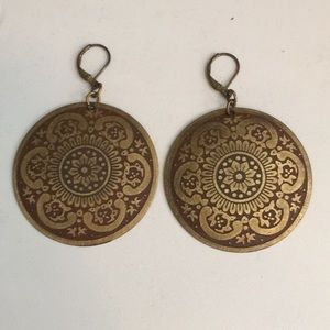 Jewelry - 🌿3/$15🌿Medallion Earrings, Antiqued Gold & Brown